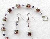 """7 1/2"""" Precious Purple Red & White Swarovski Bracelet Set"""