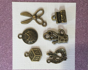 6 School Time Antique Bronze Charms