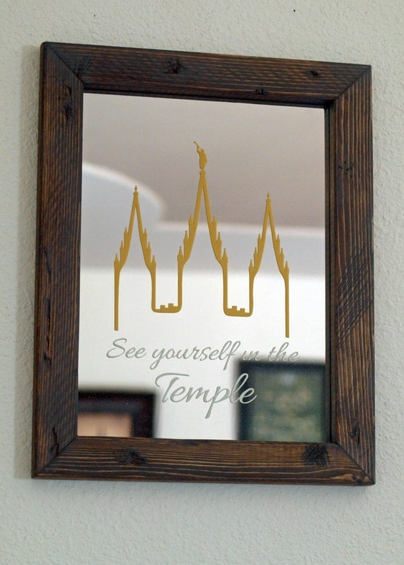 Items similar to lds temple mirror salt lake city see for Mirror yourself
