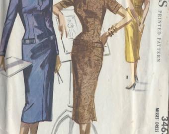 1955 Vintage Sewing Pattern B32 DRESS (R866) McCall's 3463
