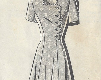 1940s Vintage Sewing Pattern B34 DRESS (235) A-B-C Special 8907