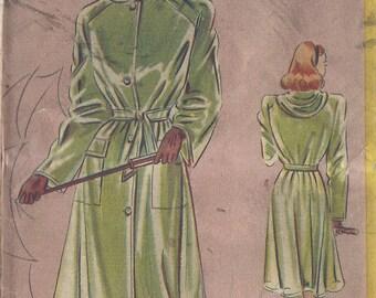 """1940s Vintage Sewing Pattern B34"""" RAINCOAT-MACINTOSH & HOOD (R490) Fleetway 12"""