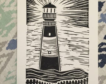 Tybee Lighthouse block printed note card