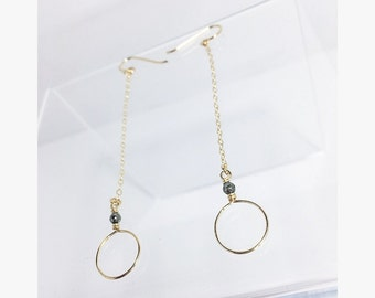 Dainty Long 14K GF Hoop Chain Earring