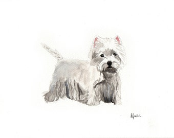 A5 Westie Watercolour Print - Original Handmade Art Print