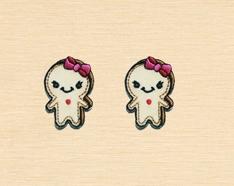 Set of 2 pcs Mini Cream Ginger Bread Cookie Iron On Patches Sew On Appliques