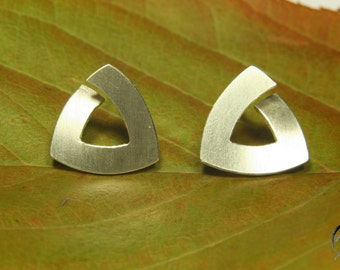 Earrings silver, triangle 12 mm stroke Matt, handmade