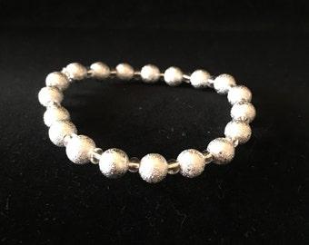 Silver Metallic Beaded Bracelet