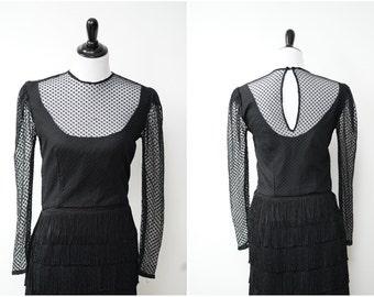 Medium Black Fringe Lace Party Dress/ Wiggle Dress/ Keyhole/ Low Neckline