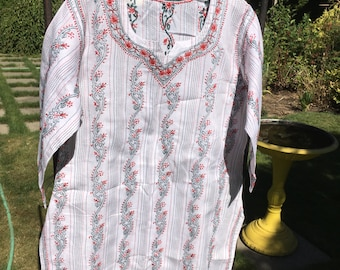 Classic Indian tunic with brilliant green and red Chikan embriodery.