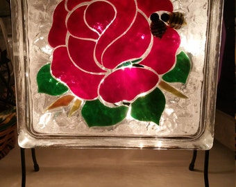 Red Rose Mosaic, Stained Glass Block, Night Light Decoration