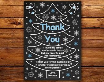 Christmas thank you card, Christmas tree thank you card,Winter Wonderland thank you card-DIGITAL FILE