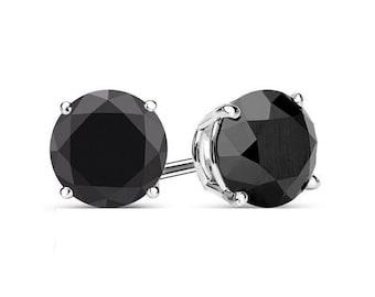 4mm Black Spinel Earrings 925 Sterling Silver Earrings Black Spinel Stud Earrings Faceted Gemstone Post Earrings Jewelry black stud earrings