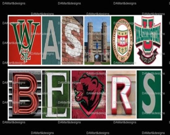 Washington University in St. Louis Bears Framed Alphabet Photo Art