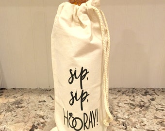 Sip Sip Hooray, Champagne Bag, Wine gifts for her, Bride and Groom, Engagement gift, Gifts for the Bride and Groom, Congratulations gift