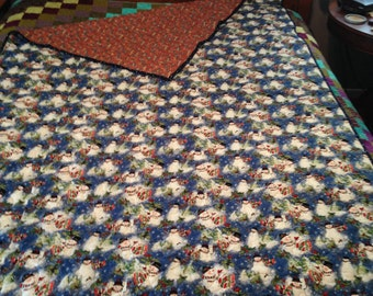 Snowman/Flag quilted throw