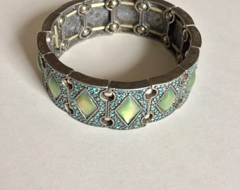 Vintage Silver-tone metal, Blue Crystal, & Green abalone Resin Stretch Bracelet.