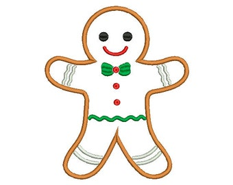 4 sizes Gingerbread Applique Design, Christmas Applique Design, Instant Download Machine Embroidery Design