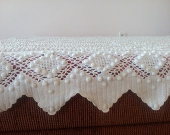 Exquisite vintage crochet single bed hand knitted one needle afghan throws spread