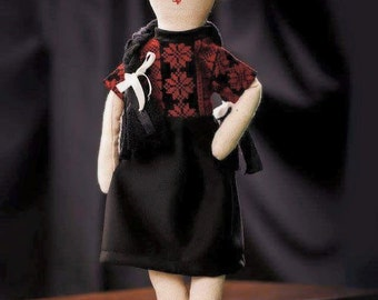 Zaina Doll in Embroidered Black and Red Dress