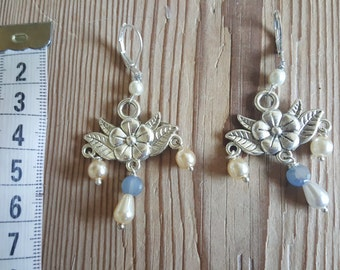 Flower dangle earrings with white pearls and blue beads