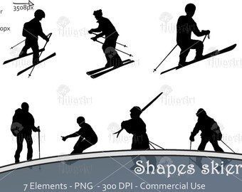 Digital pack clipart, ski, skiing, holidays, mountain, snow, scrapbooking, shapes, silhouettes