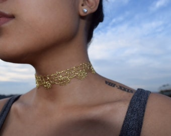 Skylar- Gold Lace Choker