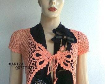 MADE TO ORDER Crochet vest, handmade summer bolero, crochet bolero, nude bolero, coral vest, fashion crochet, summer crochet, beach wear