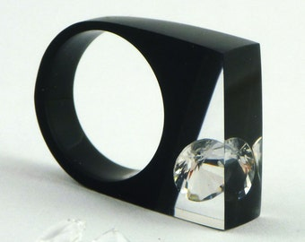 Resin Rings Unique Crystal Rings Zirconia Ring Black Resin Glamour Style Resin Jewelry Shiny Geometric Ring Gift for Her Black Ring