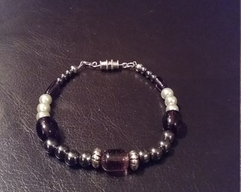 Purple and gray beaded bracelet now on sale.  Was 10.75 now 9.75