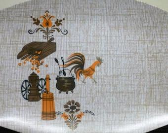 Vintage Hollywood by Tamco Melmac Rooster #H-66 Serving Platter/Serving Tray/BBQ Plate (37.5cm x25.5cm) Orange Brown Melamine Retro Kitsch