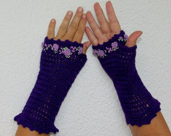 "50% OFF Crochet Gloves: ""PURPLE GLOVES"" Fingerless Purple Gloves with flower Hand Warmers Hand Knit Flower Mittens Winter accessory A25"