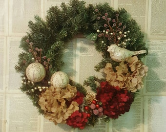 Christmas Vintage Bird Festive Hydrangea Door Wreath Wall Hanging