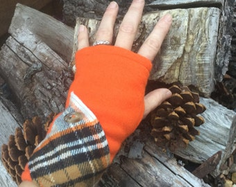 Sincerely Plaid Gloves Fleece Fingerless Texting Gloves