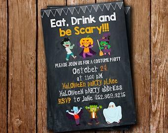kids halloween invitations halloween party invitations halloween invitation kids scary party printed