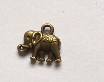 Silver elephant charm - bronze