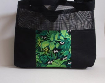 """Black mesh tote bag with """"Frog"""" design fabric pockets"""