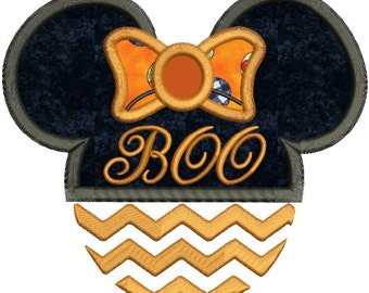 Halloween Boo Minnie Mouse Applique Design 3 sizes instant download