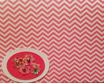 Blank pink and white chevron greeting card