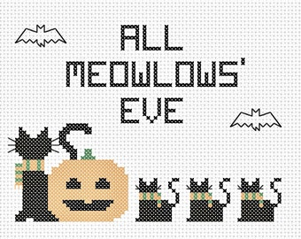 All Meowlows' Eve-Halloween Counted Cross Stitch Beginner Pattern PDF-Instant Download