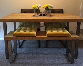 Industrial rustic reclaimed wood table with steel legs