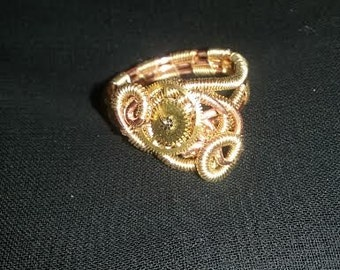 Steampunk Two-Toned Copper and Gold Wire Woven Ring