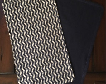 Baby Burp Cloth Chevron Navy Blue/White Stripe With Navy Back