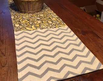 Burlap and Cotton Table Runner