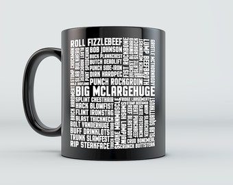 Mystery Science Theater 3000 MST3K Tom Servo Crow Robot Big McLargehuge - Many Names of David Ryder Space Mutiny Mug - Black/Whit 11oz 15oz