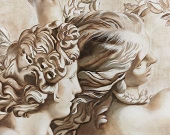 Apollo and Daphne-contemporary work of art. Reproduction fresco-giclée on canvas