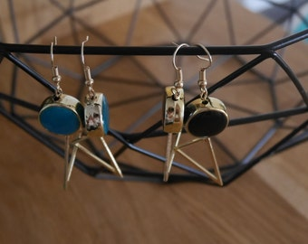 Round beads and earrings triangle Golden - Triangle and round earrings