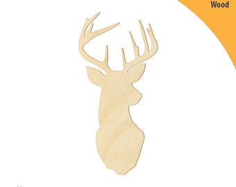 Deer Head Wood Cutout Shape, Laser Cut Wood Shapes, Crafting Shapes, Gifts, Ornaments Deer Head