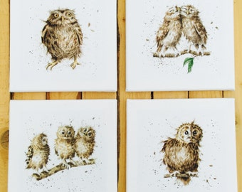 Handmade Canvas Pictures Set of 4 Owls What a Hoot