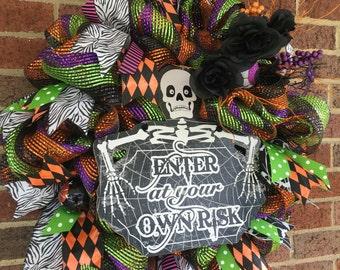 Skeleton Multi-Color Halloween Wreath, Halloween Decor, Merimeshdesigns, Mesh Wreath, Skull, Wreath, Halloween Mesh Wreath, Happy Halloween